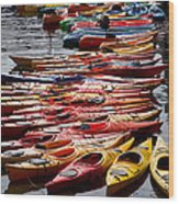 Kayaks At Rockport Wood Print