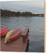 Kayaks By The Lake Nj Wood Print