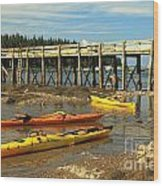 Kayaks By The Pier Wood Print