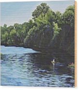 Kayaks On Rainbow River Wood Print by Penny Birch-Williams