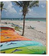 Kayaks On The Beach Wood Print