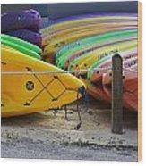 Kayaks Stacked Wood Print