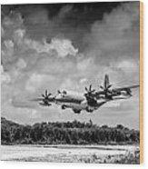 Kc-130 Approach Wood Print