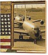 Kc-135 Stratotanker Rustic Flag Wood Print