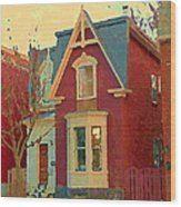 Keep A Light In The Window Til I Come Home Again Winter House Pointe St Charles City Scene Cspandau  Wood Print