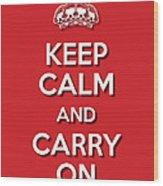 Keep Calm 2 Red Wood Print