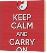 Keep Calm Yinyang Red Wood Print