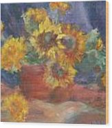 Keep On The Sunny Side - Original Contemporary Impressionist Painting - Sunflower Bouquet Wood Print
