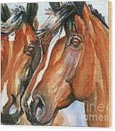 Horse Painting Keeping Watch Wood Print