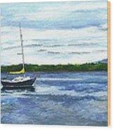 Kellogg's Bay Vt View Of Lake Champlain And Camel's Hump Wood Print