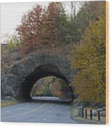 Kelly Drive Rock Tunnel In Autumn Wood Print