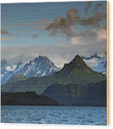 Kenai Mountains And Kachemak Bay Wood Print