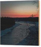 Kenai River Sunrise Wood Print