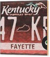 Kentucky License Plate Wood Print