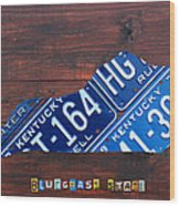 Kentucky License Plate Map The Bluegrass State Wood Print