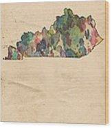 Kentucky Map Vintage Watercolor Wood Print