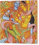 Kerala Fresco Mural Wood Print