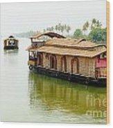 Kerala Houseboats Wood Print