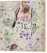 Kevin Durant In Color Wood Print by Aged Pixel