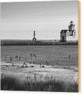 Kewaunee Lighthouse In Bandw Wood Print