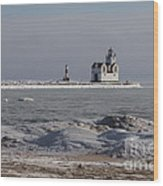 Kewaunee Lighthouse In Winter Wood Print