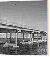 Key Biscayne Bridge Bw Wood Print
