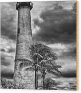 Key Biscayne Fl Lighthouse Black And White Img 7167 Wood Print