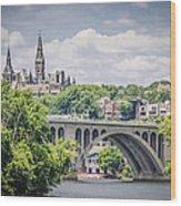 Key Bridge And Georgetown University Wood Print