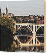 Key Bridge And Georgetown University Washington Dc Wood Print