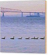 Key Bridge And Waterfowl Wood Print
