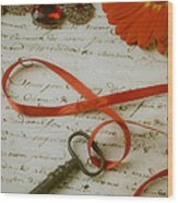 Key On Red Ribbon Wood Print