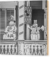 Key West Christmas Decorations 2 - Black And White Wood Print