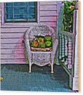 Key West Coconuts - Colorful House Porch Wood Print