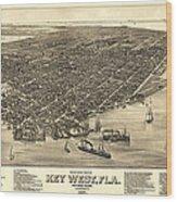 Key West Florida Map 1884 Wood Print