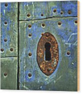 Keyhole On A Blue And Green Door Wood Print