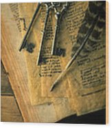 Keys And Quill On Old Papers Wood Print
