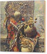 Khachkar Cross  Stone Still Life With Jugs Wood Print