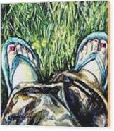 Khaki Pants And Flip Flops Wood Print