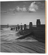Kicked In The Groyne Wood Print
