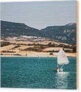 Kid Sailing On A Lake Wood Print