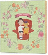 Kid With Golden Retriever Dog On The Wood Print