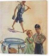 Kids And Fishing  1934 Wood Print