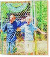 Kids And The Train 2 Wood Print