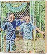 Kids And The Train Wood Print