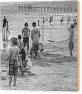 Kids At Beach Wood Print