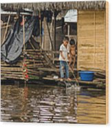 Kids At Play In Shanty Town Wood Print