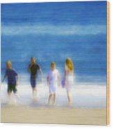 Kids At The Beach Wood Print