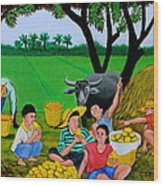 Kids Eating Mangoes Wood Print by Cyril Maza