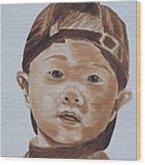 Kids In Hats - Young Baseball Fan Wood Print