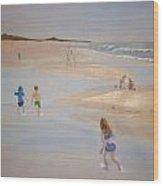 Kids On The Beach Wood Print
